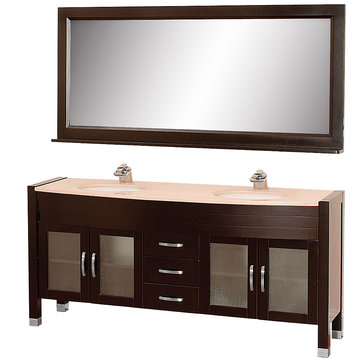 Wyndham Daytona 71 Inch Double Espresso Vanity With Ivory Marble And Mirror