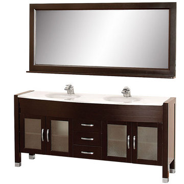 Wyndham Daytona 71 Inch Double Espresso Vanity With White Stone And Mirror