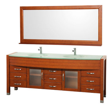 Wyndham Daytona 78 Inch Double Cherry Vanity With Glass And Mirror
