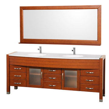 Wyndham Daytona 78 Inch Double Cherry Vanity With White Stone And Mirror