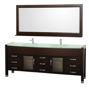 Wyndham Daytona 78 Inch Double Espresso Vanity With Glass And Mirror