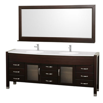 Wyndham Daytona 78 Inch Double Espresso Vanity With White Stone And Mirror