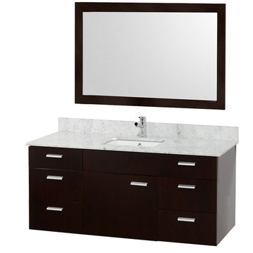 Wyndham Encore 52 Inch Single Bathroom Vanity With Carrera Marble Top