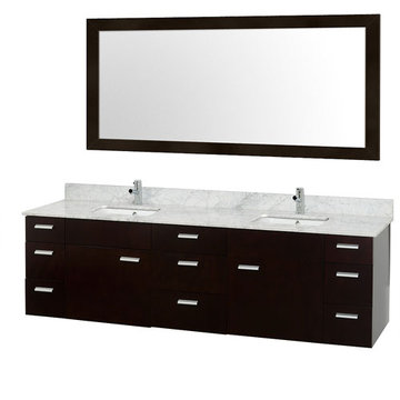 Wyndham Encore 78 Inch Double Bathroom Vanity With Carrera Marble Top