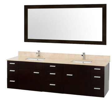 Wyndham Encore 78 Inch Double Bathroom Vanity With Ivory Marble Top