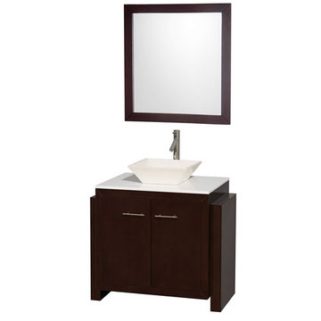 Wyndham Hudson 36 Inch Vanity With Bone Porcelain Sink And Mirror