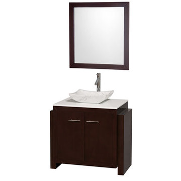 Wyndham Hudson 36 Inch Vanity With Carrera Marble Sink And Mirror