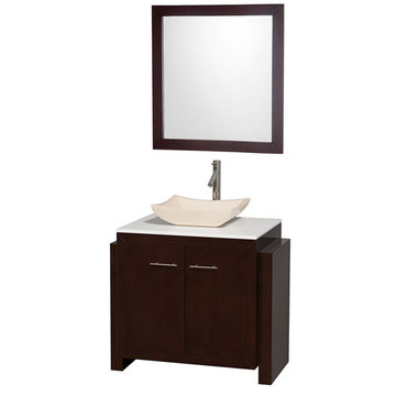 Wyndham Hudson 36 Inch Vanity With Ivory Marble Sink And Mirror
