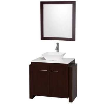 Wyndham Hudson 36 Inch Vanity With White Porcelain Sink And Mirror