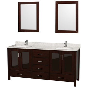 Wyndham Lucy 72 Inch Double Vanity With Carrera Marble And Mirrors