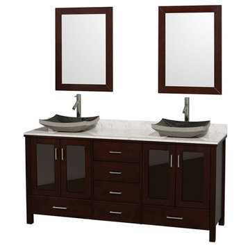 Wyndham Lucy 72 Inch Double Vanity With Carrera Marble Top, Black Sinks And Mirrors