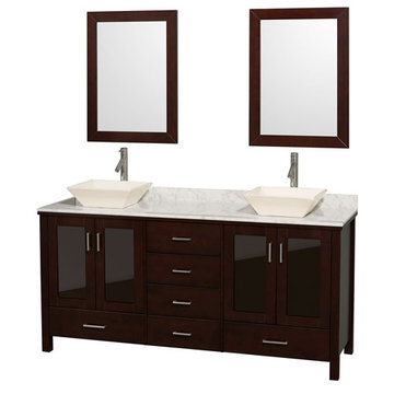 Wyndham Lucy 72 Inch Double Vanity With Carrera Marble Top, Ivory Sinks And Mirrors