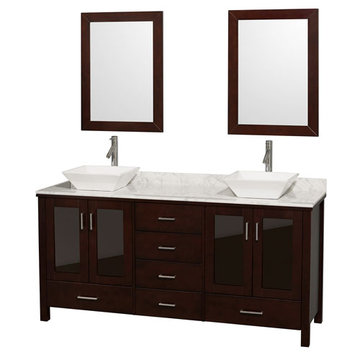 Wyndham Lucy 72 Inch Double Vanity With Carrera Marble Top, White Sinks And Mirrors