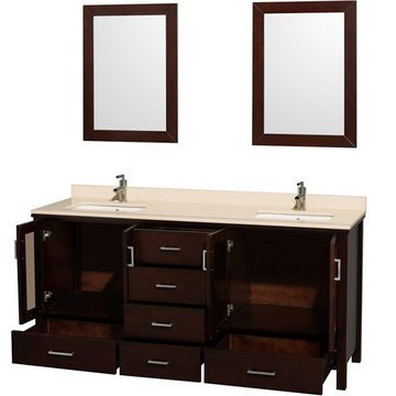 Wyndham Lucy 72 Inch Double Vanity With Ivory Marble And Mirrors