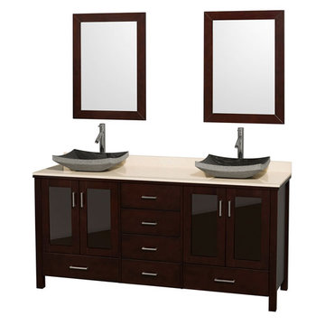 Wyndham Lucy 72 Inch Double Vanity With Ivory Marble Top, Black Sinks And Mirrors