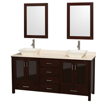 Wyndham Lucy 72 Inch Double Vanity With Ivory Marble Top, Bone Sinks And Mirrors