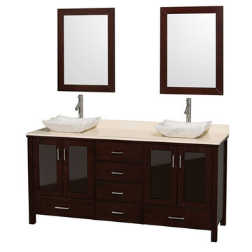 Wyndham Lucy 72 Inch Double Vanity With Ivory Marble Top, Carrera Marble Sinks And Mirrors