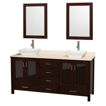 Wyndham Lucy 72 Inch Double Vanity With Ivory Marble Top, White Sinks And Mirrors