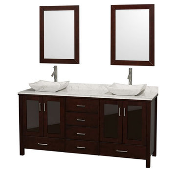 Wyndham Lucy 72 Inch Double Vanity With Matching Mirrors And Carrera Marble And Sinks