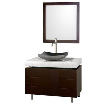 Wyndham Malibu 36 Inch Espresso Vanity With Carrera Marble Top, Black Sink And Mirror