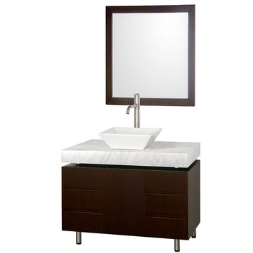 Wyndham Malibu 36 Inch Espresso Vanity With Carrera Marble Top, White Sink And Mirror