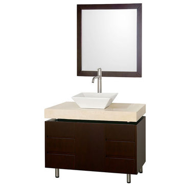 Wyndham Malibu 36 Inch Espresso Vanity With Ivory Marble Top, White Sink And Mirror