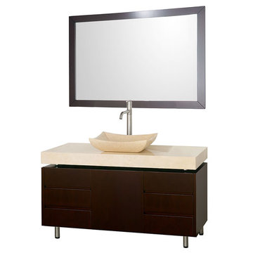 Wyndham Malibu 36 Inch Espresso Vanity With Matching Mirror And Ivory Marble And Sink