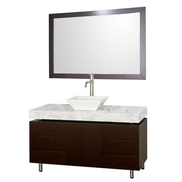 Wyndham Malibu 48 Inch Espresso Vanity With Carrera Marble Top, White Sink And Mirror