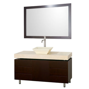 Wyndham Malibu 48 Inch Espresso Vanity With Ivory Marble Top, Bone Sink And Mirror