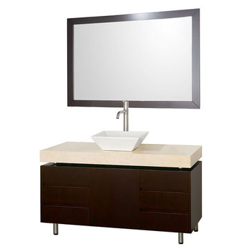 Wyndham Malibu 48 Inch Espresso Vanity With Ivory Marble Top, White Sink And Mirror