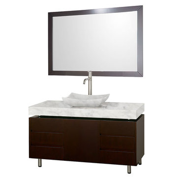 Wyndham Malibu 48 Inch Espresso Vanity With Matching Mirror And Carrera Marble And Sink