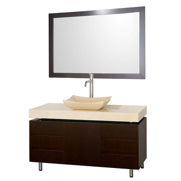 Wyndham Malibu 48 Inch Espresso Vanity With Matching Mirror And Ivory Marble And Sink