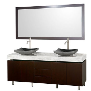 Wyndham Malibu 72 Inch Double Espresso Vanity With Carrera Marble Top, Black Sinks And Mirror