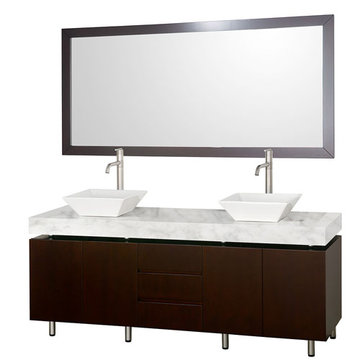 Wyndham Malibu 72 Inch Double Espresso Vanity With Carrera Marble Top, White Sinks And Mirror