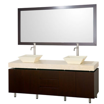 Wyndham Malibu 72 Inch Double Espresso Vanity With Ivory Marble Top, Bone Sinks And Mirror