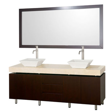 Wyndham Malibu 72 Inch Double Espresso Vanity With Ivory Marble Top, White Sinks And Mirror