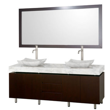Wyndham Malibu 72 Inch Double Espresso Vanity With Matching Mirror And Carrera Marble And Sinks