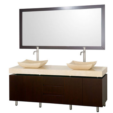 Wyndham Malibu 72 Inch Double Espresso Vanity With Matching Mirror And Ivory Marble And Sinks