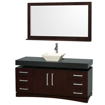 Wyndham Monterey 60 Inch Espresso Vanity With Black Top, Bone Sink And Mirror