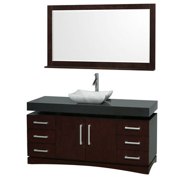 Wyndham Monterey 60 Inch Espresso Vanity With Black Top, Carrera Marble Sink And Mirror