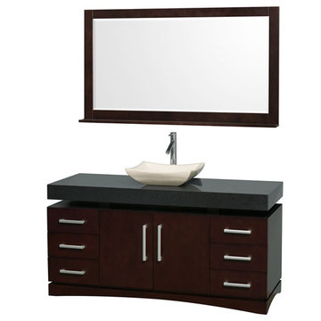 Wyndham Monterey 60 Inch Espresso Vanity With Black Top, Ivory Sink And Mirror