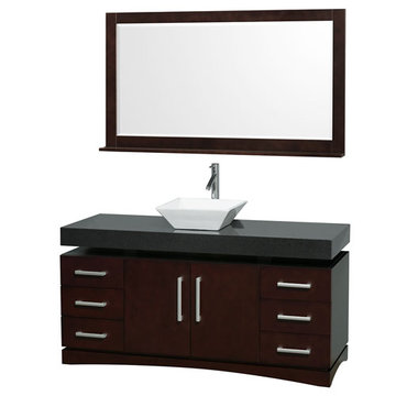 Wyndham Monterey 60 Inch Espresso Vanity With Black Top, White Sink And Mirror