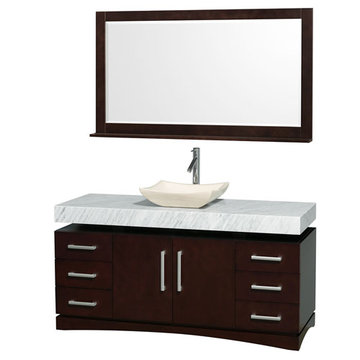 Wyndham Monterey 60 Inch Espresso Vanity With Carrera Marble Top, Black Sink And Mirror