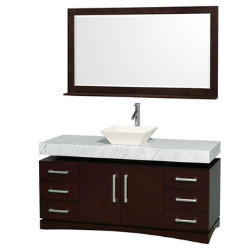 Wyndham Monterey 60 Inch Espresso Vanity With Carrera Marble Top, Bone Sink And Mirror