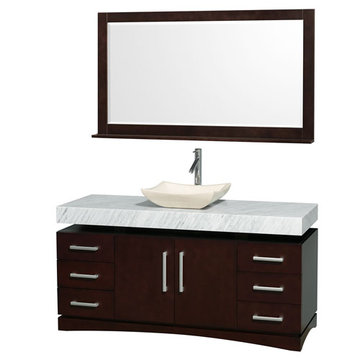 Wyndham Monterey 60 Inch Espresso Vanity With Carrera Marble Top, Ivory Sink And Mirror