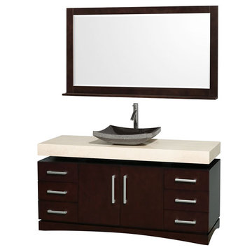 Wyndham Monterey 60 Inch Espresso Vanity With Ivory Marble Top, Black Sink And Mirror