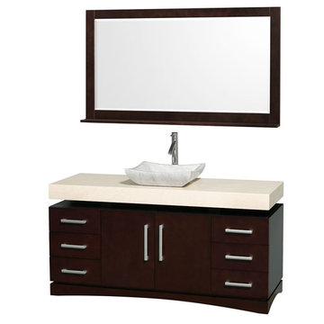 Wyndham Monterey 60 Inch Espresso Vanity With Ivory Marble Top, Carrera Marble Sink And Mirror