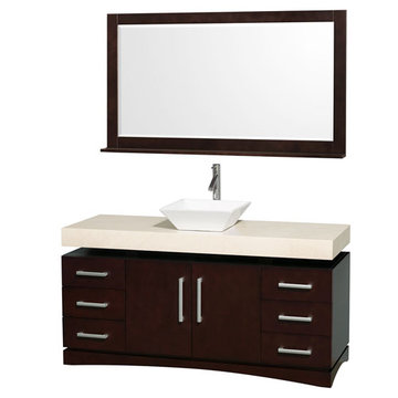Wyndham Monterey 60 Inch Espresso Vanity With Ivory Marble Top, White Sink And Mirror