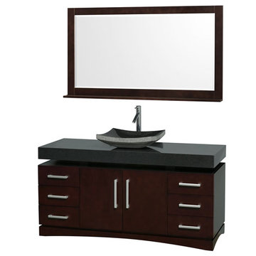 Wyndham Monterey 60 Inch Espresso Vanity With Matching Mirror And Black Granite And Sink