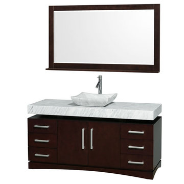 Wyndham Monterey 60 Inch Espresso Vanity With Matching Mirror And Carrera Marble And Sink